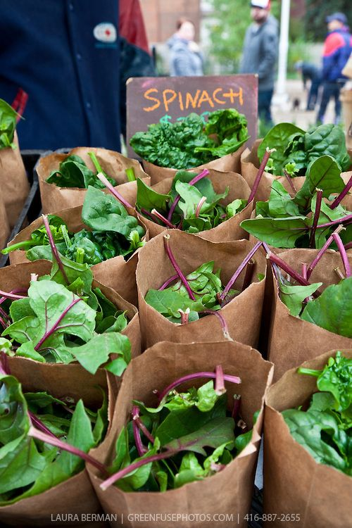 Paper bags of spinach - I love the paper bag idea especially