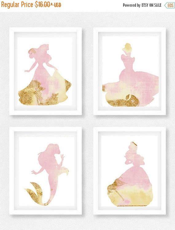 Disney Chambre De Bebe Ensemble De 4 Art Mural Princesse