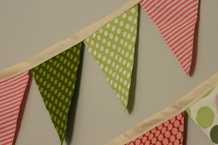 Fabric banner. I'll add painted letters to create 'Happy Birthday' or some other sentiment.
