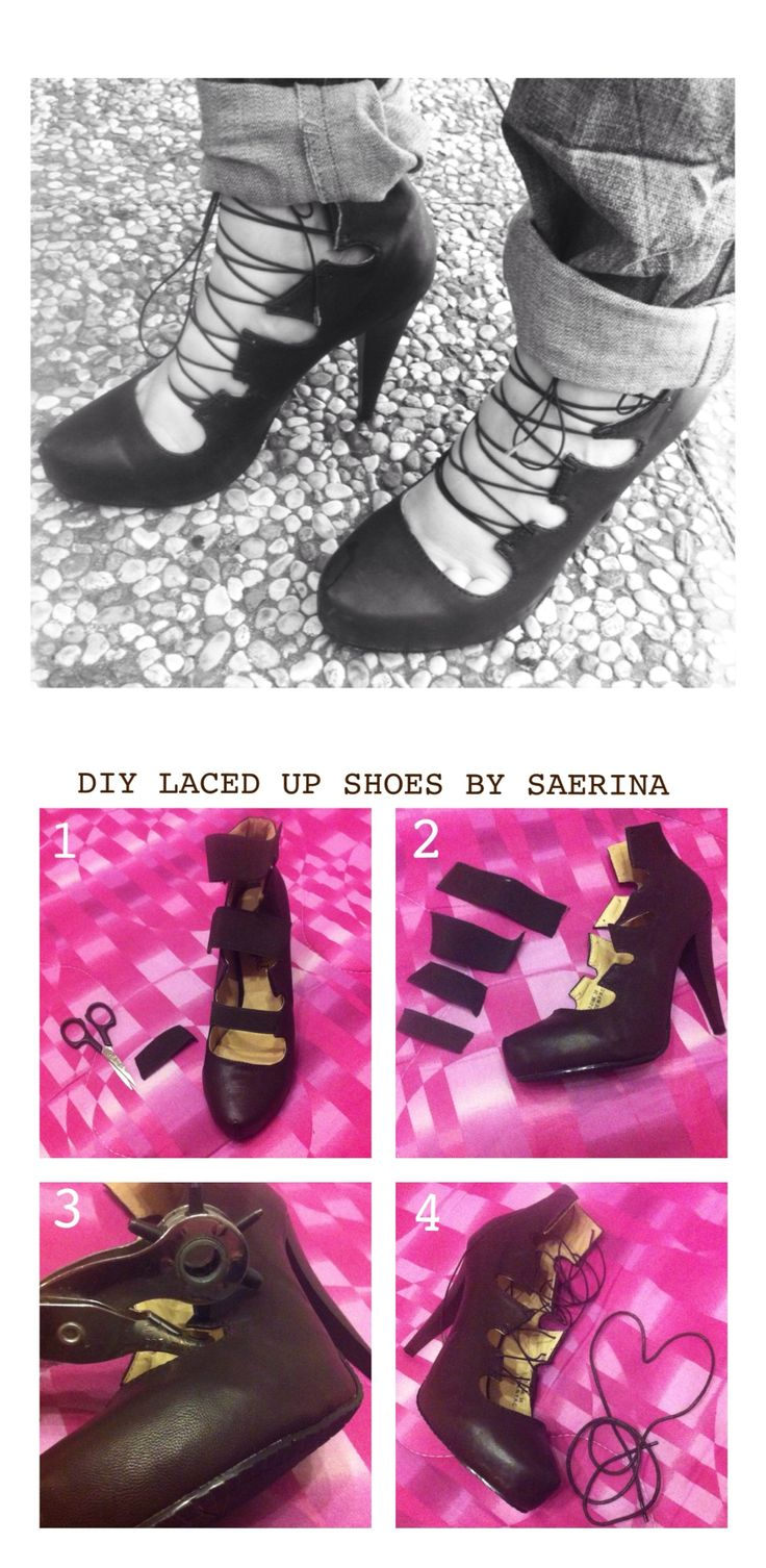 My DIY laced up shoes - Zara inspired (shoes restyle) http://instagram.com/littlesatisfactions ☆ By Saerina ✎ http://www.pinterest.com/saerina/saerina-s-made-by-me/
