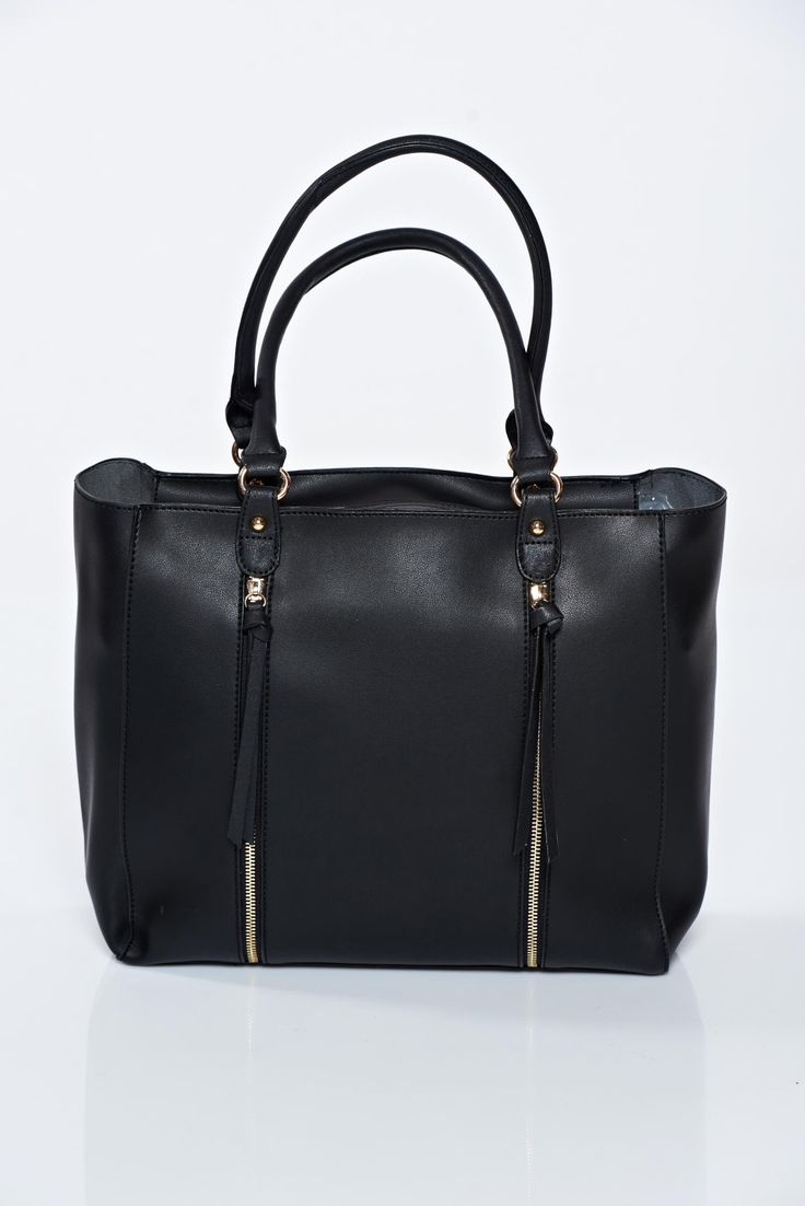 Black casual ecological leather bag zipper accessory, women`s bag, has fringes, zipper accessory, metalic accessory, upper material: ecological leather, a compartment with internal pockets