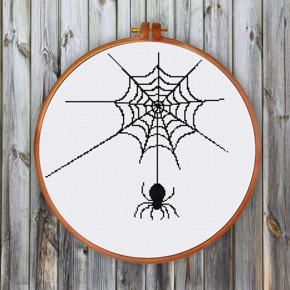 Spider Web cross stitch pattern Modern silhouette by ThuHaDesign
