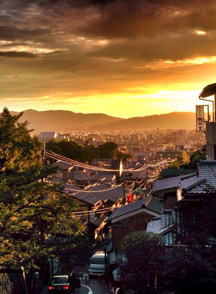 清水寺善光寺, Kyoto, Japan - sun set view