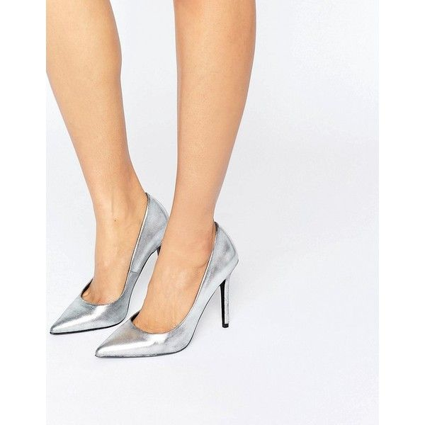 ShoeLab Metallic Court Shoe (£48) ❤ liked on Polyvore featuring shoes, pumps, high heel shoes, leather high heel pumps, metallic leather pumps, slip-on shoes and pointed toe high heel pumps