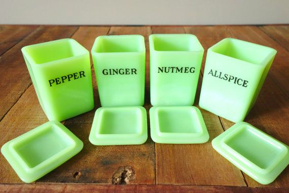 Vintage Small Jeannette Jadite Spice Containers by ProsserBrosVtg, $588.00 Have 2 Gingers.. need Pepper for full set