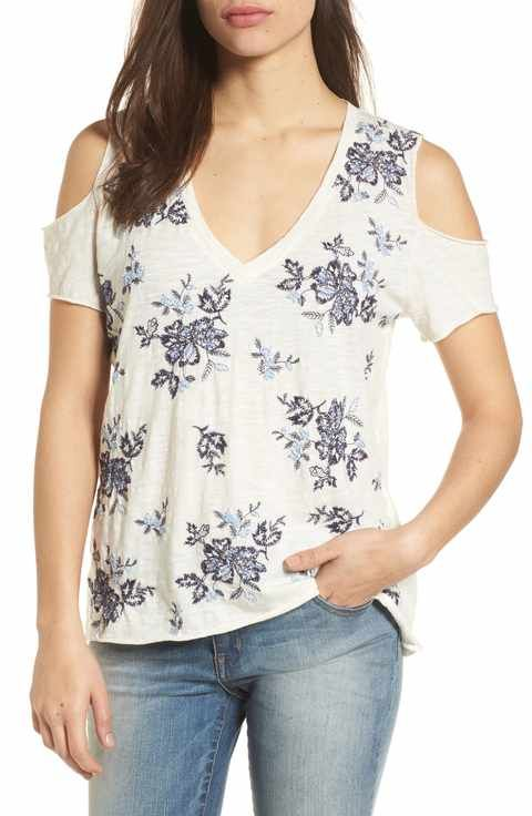 ea6d147a94fe Lucky Brand Floral Embroidered Cold Shoulder Top