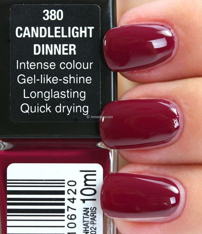 Manhattan Last & Shine Nagellack: 380 Candlelight Dinner Ein herbstliches, gedämpftes Cremerot und deckend mit zwei Schichten. Ein sehr klassischer, eleganter Ton.