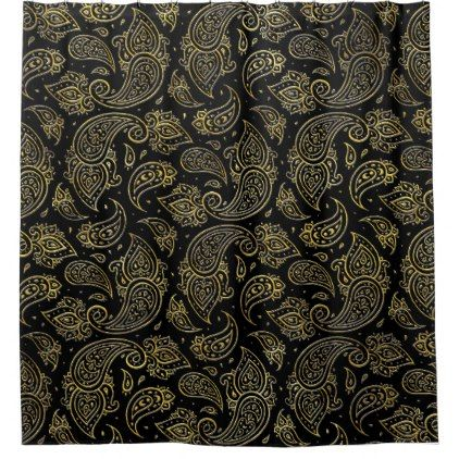 Golden Embossed Paisley pattern on black Shower Curtain - metallic style stylish great personalize