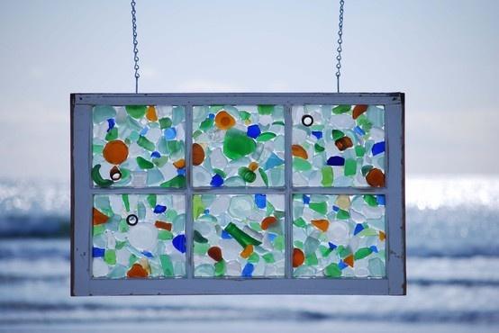 Seaglass window curtainDiy Ideas, Old Windows, Glasses Art, Glasses Windows, Beach, Seaglass, Sea Glasses, Bathroom Windows, Stained Glasses