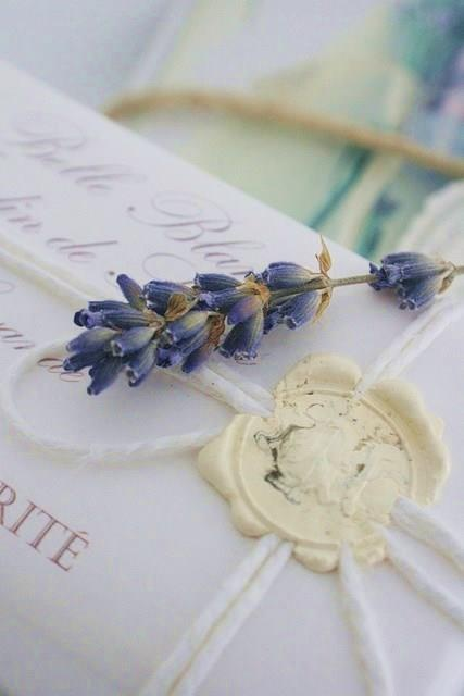 ❥ lavender and wax seal