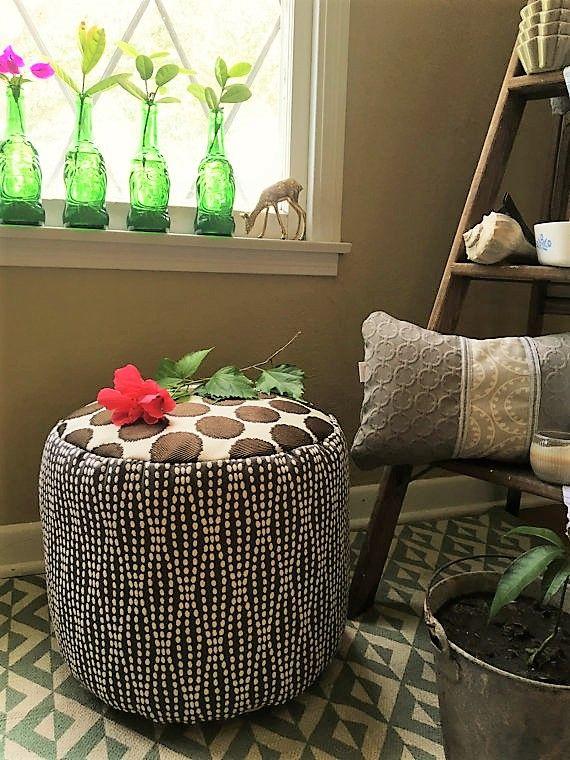 Pouf / Ottoman / Round / Flour Cushion / Foot Rest / Brown / Beige / · Grey Living  Room ... Part 94