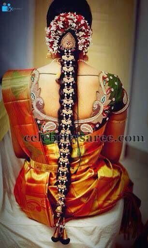 Bride in Leafy Work Blouse | Saree Blouse Patterns