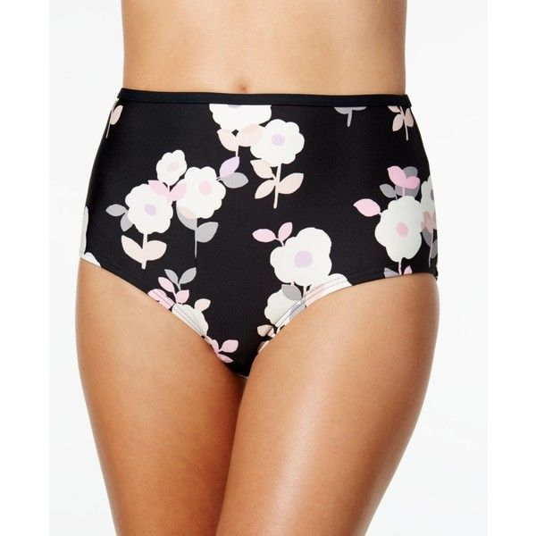 kate spade new york Floral-Print High-Waist Bikini Bottoms ($40) ❤ liked on Polyvore featuring swimwear, bikinis, bikini bottoms, black, swimming bikini, retro swimwear, floral high-waisted bikinis, swim bikini and high rise bikini bottoms