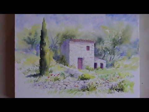 Time-lapse d'une aquarelle représentant le cabanon de Cézanne près d'Aix en Provence (Bibémus). Sans paroles.
