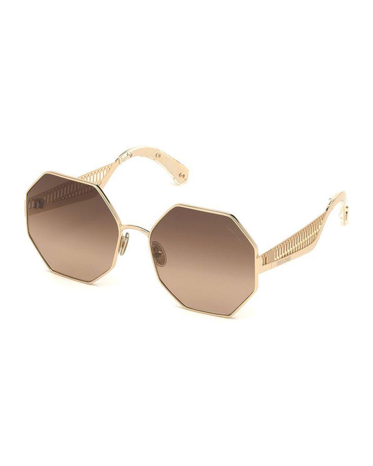 roberto cavalli octagonal metal sunglasses