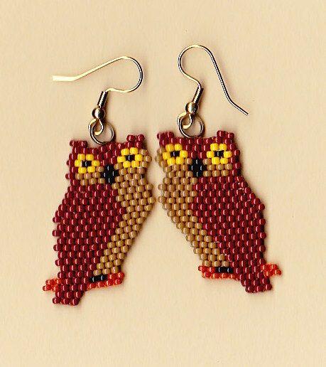 Native American Beaded Brown Owl Earrings #Native #American #owl #Beaded #bead