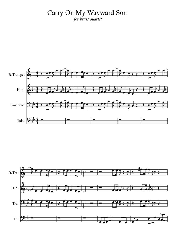 Sheet music made by aaronvon for 4 parts: B♭ Trumpet, Horn, Trombone, Tuba