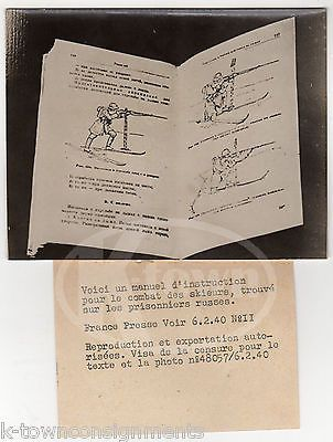 FRENCH ARMY CROSS COUNTRY SKIING BATTLE TRAINING MANUAL ANTIQUE PRESS PHOTO 1940