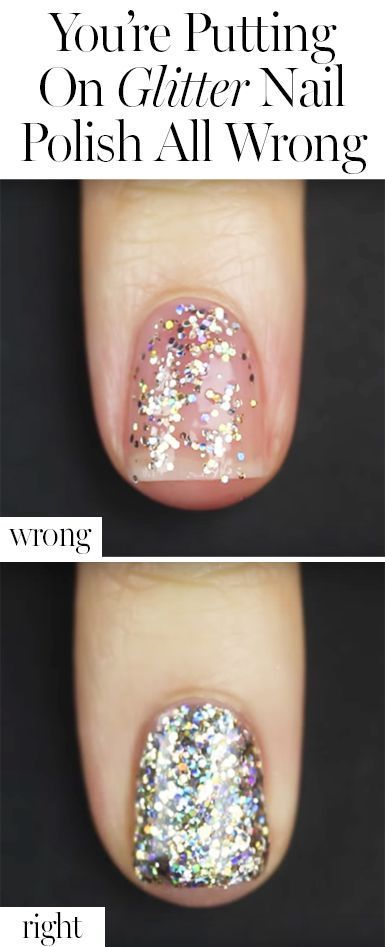 The genius trick that makes applying glitter nail paint so much easier and prettier!