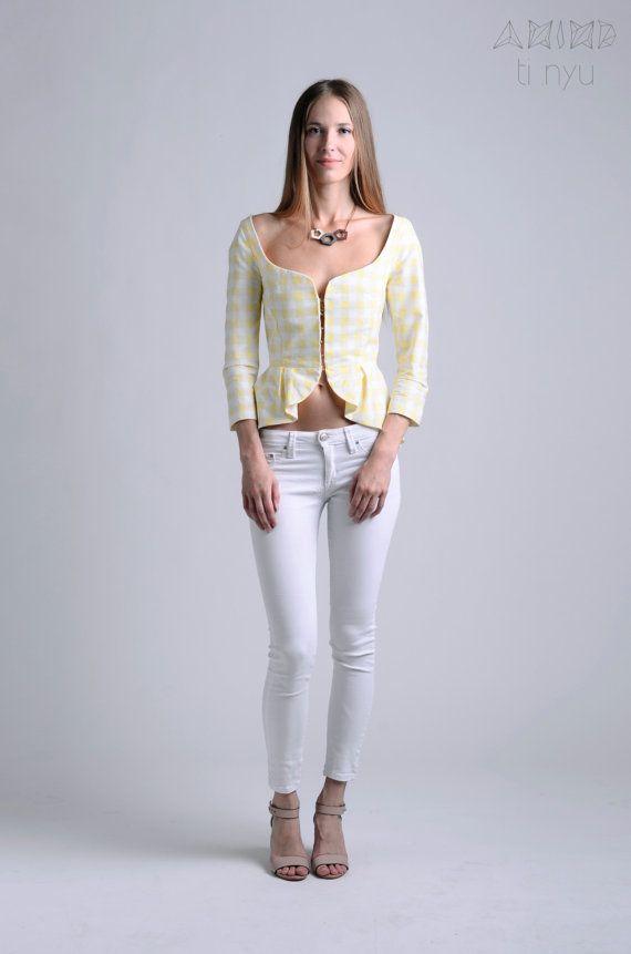 yellow checkered peplum blazer / peplum blazer / peplum by OtinyuO