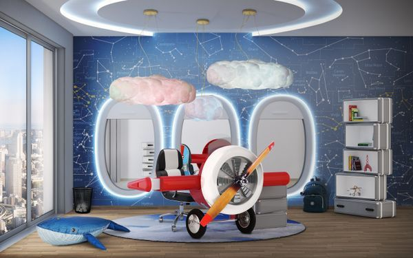 "Up, up and away! Take off to the sky for some aeronautical adventures. Sky Desk is a desk inspired by Disney movie ""Planes"" It is the perfect combination for your aviator inspired bedroom decoration. Bring a little aviation-inspired magic to the little pilot's bedroom. With a creative and playful design, the Sky Desk is the best addition for the little pilot's room. The decorative suitcases are storage compartments. Soar high above the clouds! Some kids are born to fly!"