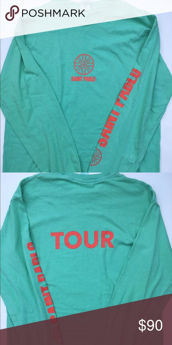 Saint Pablo tour long sleeve Original purchased at austin St Pablo tour Kanye West Saint Pablo Tour Merch Mint Green Long Sleeve TLOP Size M medium Yeezy yeezus Merch Shirts Tees - Long Sleeve