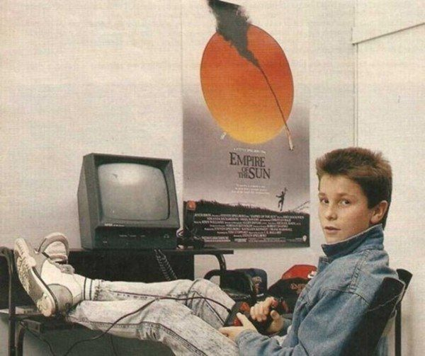 """Christian Bale with his Amstrad computer - 1988. He was among the 4000 other auditioners for the role of Jim Graham in """"Empire of the Sun."""" Steven Spielberg chose him for the role."""