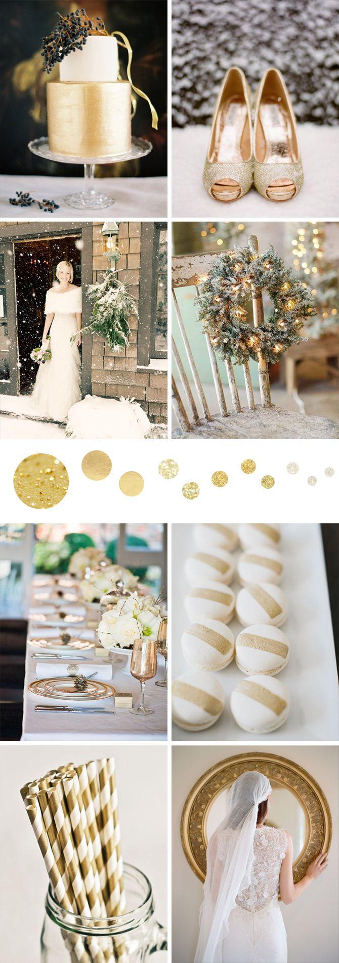 Winter white and gold board | via Originální Svatba