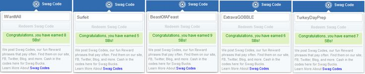 Thank you #ezFollowers!! ezswag.com had yet another successful #SwagBucks #SwagCode Extravaganza. All five (5) codes for Swag Code ExtravaGOBBLE were posted on a dime for #Australia #AU #Canada #CA #Ireland #IE #UnitedKingdom #UK and #UnitedStates #USA. Thank you for joining the #ezCommunity. Have fun earning EZ!! #ezswag