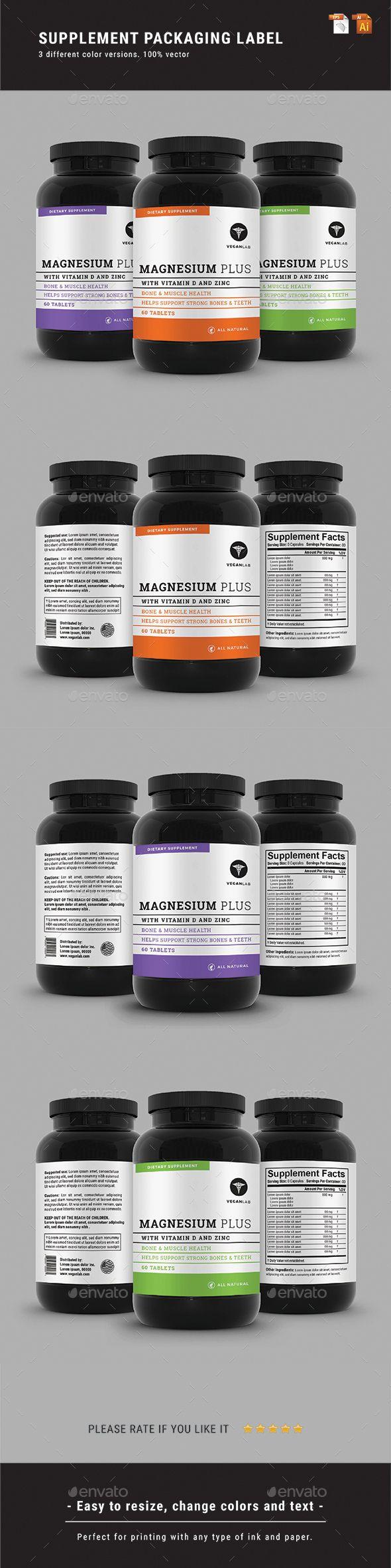 Supplement Packaging Label Design Template Vector EPS, AI Illustrator