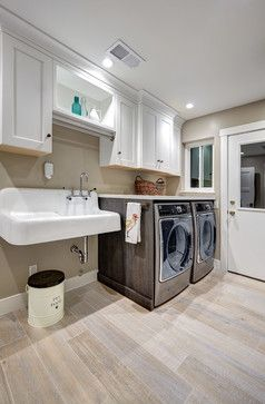 Free standing utility sink with no surrounding counter; don't want front load washer, so no counter on top of washer and dryer.