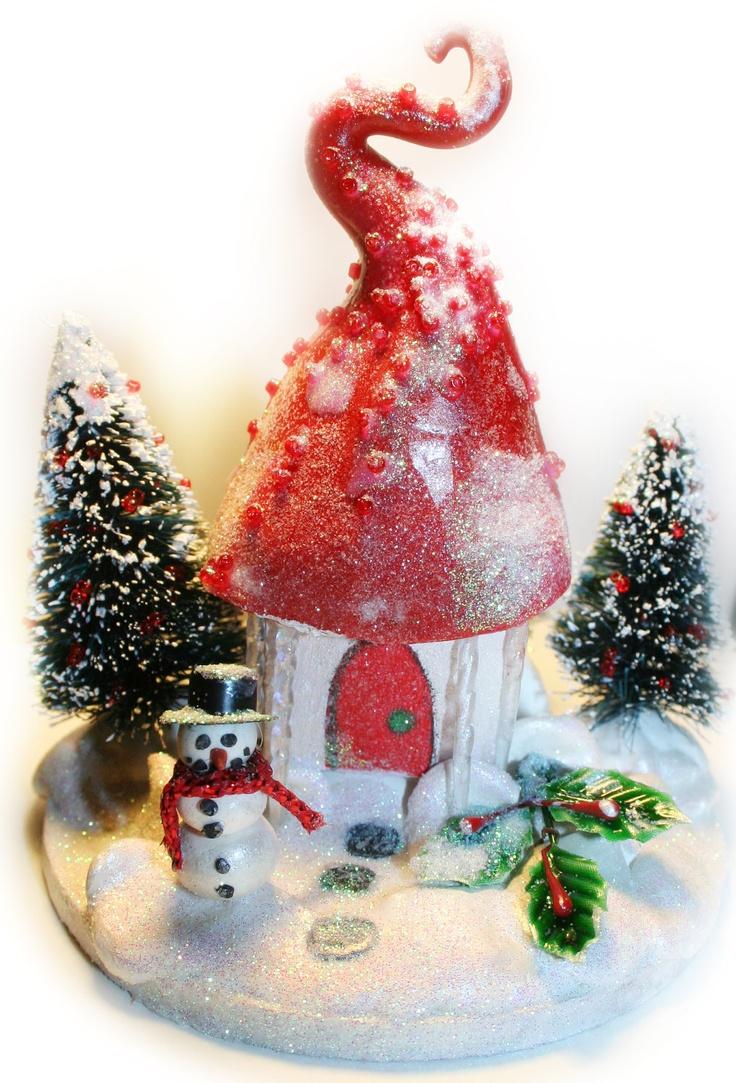 Fairy christmas ornaments - Fairy Christmas Cottage