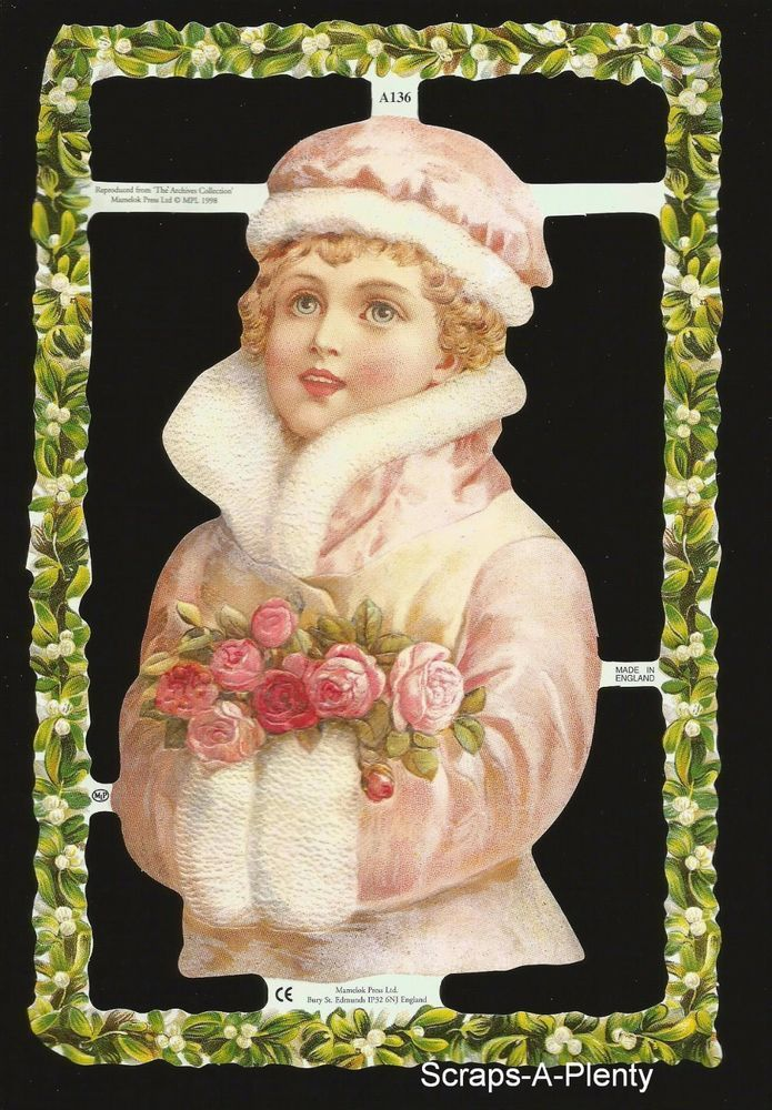 Mamelok Embossed English Scrap Die Cut- Winter Child (Archives Collection) A136