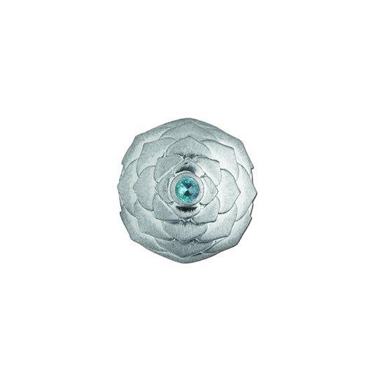 'Lotus' silver pod with blue gemstone