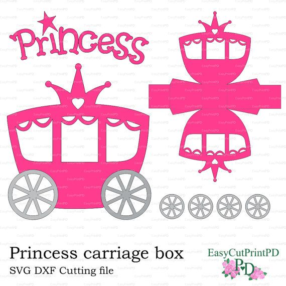 princess carriage box template  studio v 3  dxf  svg  baby girl party cutting digital cinderella