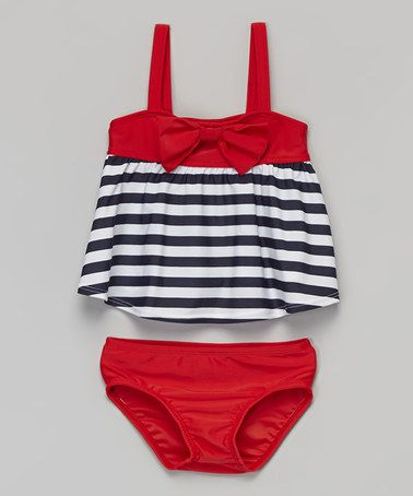 Another great find on #zulily! Red & Navy Stripe Tankini - Infant & Toddler #zulilyfinds