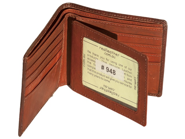 Brand: REAL Leather  Material: Leather, Cowhide  Features:  Wallet with 8 card slots.  Bi-fold  Two windows for picture or ID  2 large back pockets for bank notes  No Zip  Slim Design, still holds enough cards