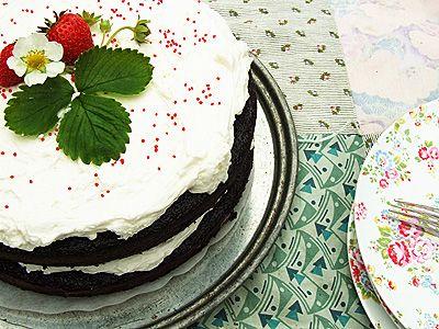 Deep Dark Chocolate Cake with Cloudburst Frosting. Recipe.