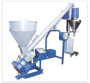 Screw feeding system for feeding the material into upper hopper of machine.  http://www.elegantpackagingmachines.com/rewinding-machine.html