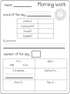 Today in First Grade...: Morning Work Freebie. Change some of the word of day activities, ie why is this term important to the lesson. Use math section for bus or finance question