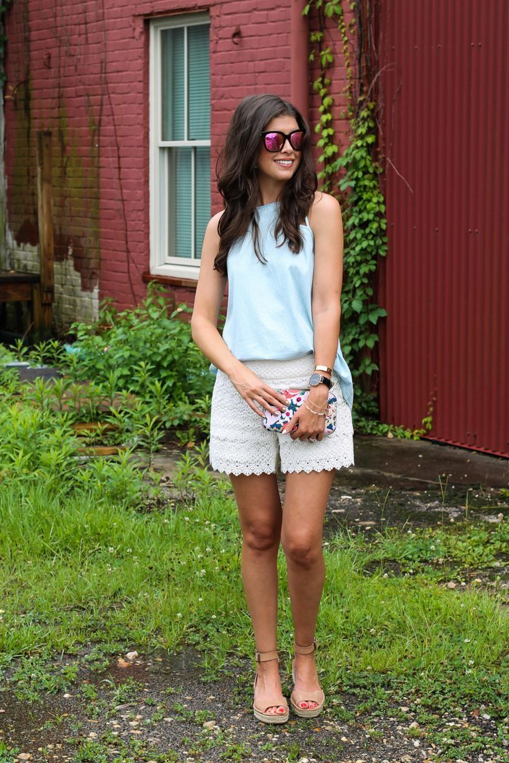 Chambray Tank & Lace Shorts for Summer | All For Color via @mctrahan