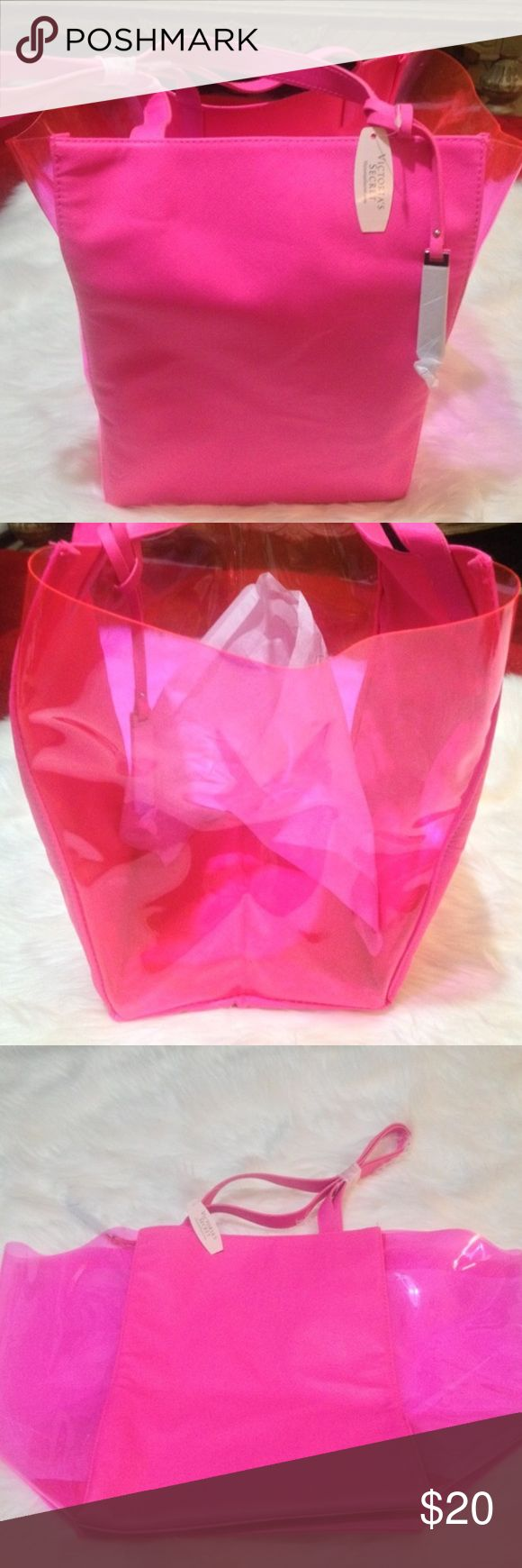 NWT Victoria's Secret clear and vinyl pink tote NWT Victoria's Secret clear and vinyl pink tote Victoria's Secret Bags Totes