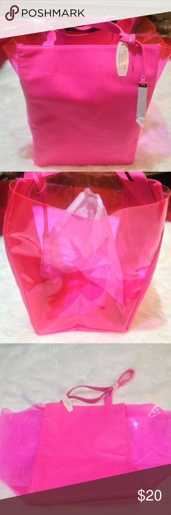 NWT Victoria's Secret clear and vinyl pink tote NWT Victoria's Secret clear and vinyl pink tote Victoria's Secret Bags Totes
