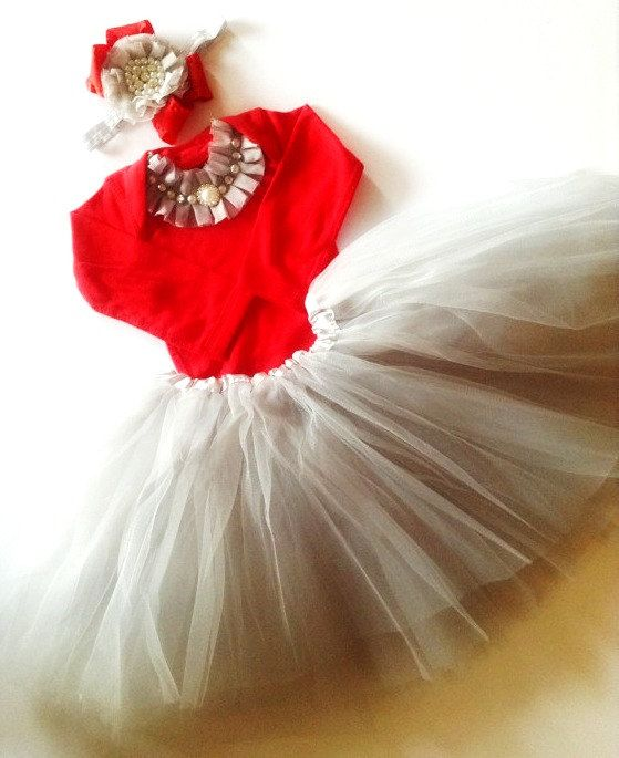 Baby girl CHRISTMAS outfit red silver BABY DIVA dress silver tutu red onesie bodysuit rhinestone pearls