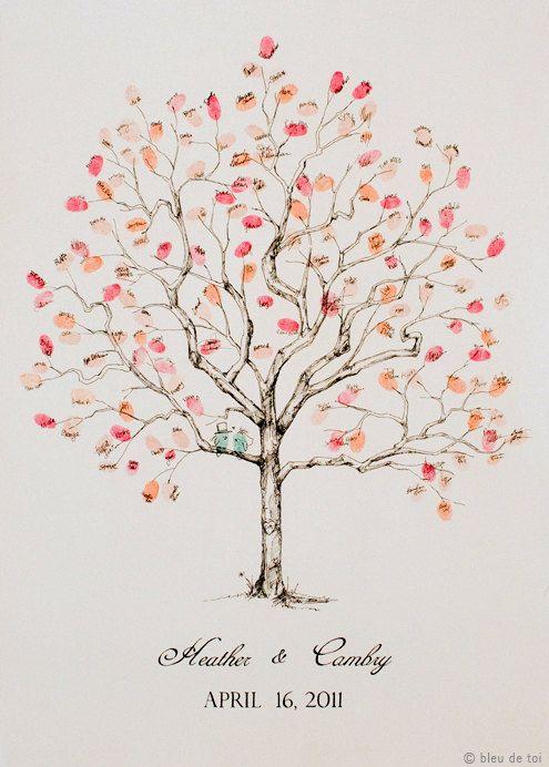 Guest book fingerprint tree, MEDIUM jacarenda (drawing with 1 ink pad). $136.00, via Etsy.