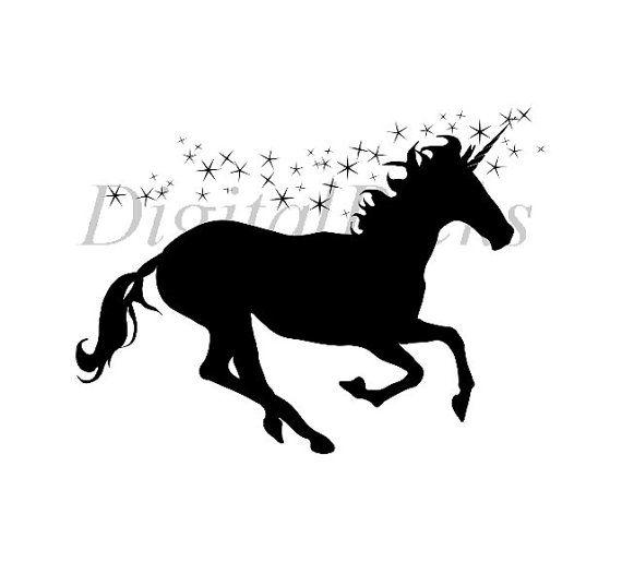 12 x 8.870 Black Silhouette Sillhouette Unicorn by DigitalPicks