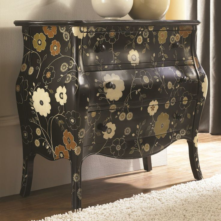 Hidden Treasures 3 Drawer Cabinet With Vine And Flower Accents By Hammary    Riverview Galleries