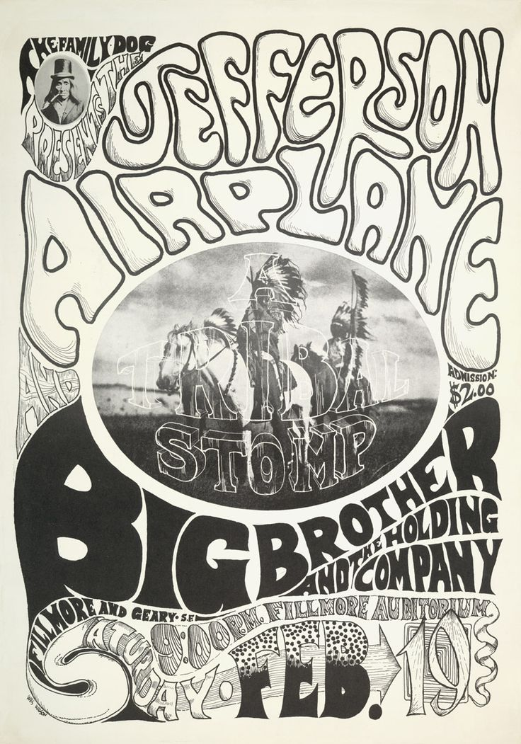 Fillmore Auditorium, February 19, 1966, Jefferson Airplane/Big Brother and the Holding Company Photo: Edward Curtis, Art: Chet Helms & Wes Wilson.
