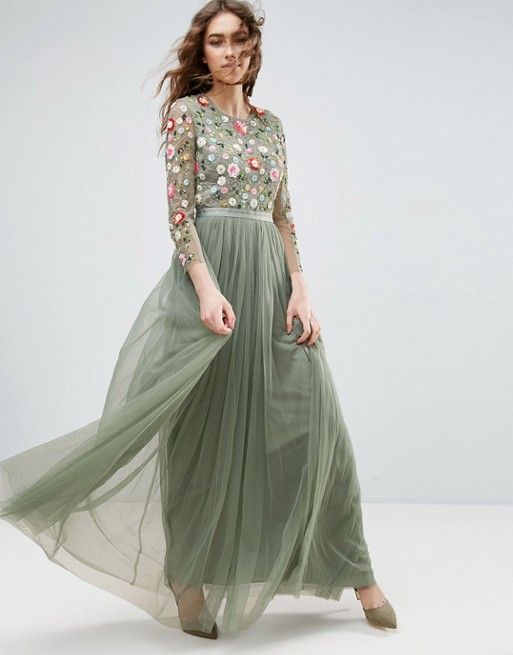 Needle and Thread Long Sleeve Embroidered Maxi Dress in green at asos