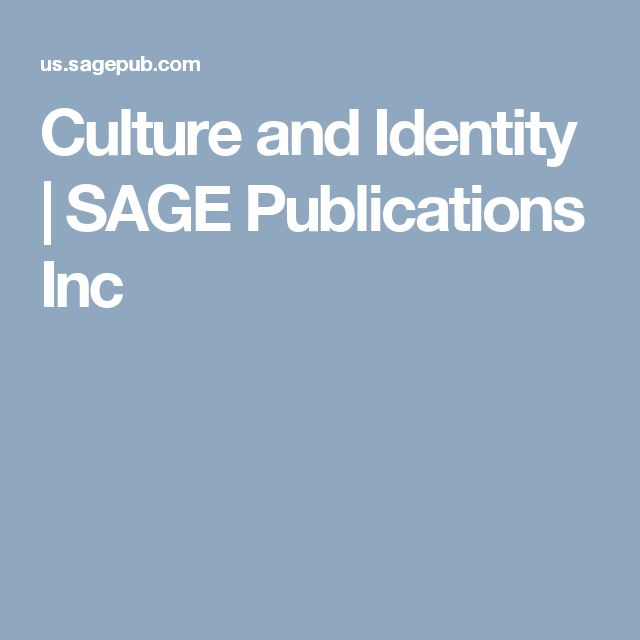 Culture and Identity | SAGE Publications Inc
